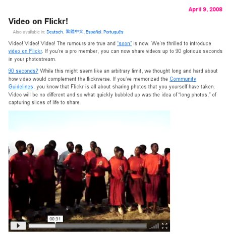 Flickr Video Upload