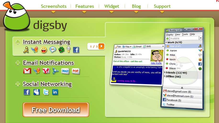 Digsby=IM + Email + Social Networks